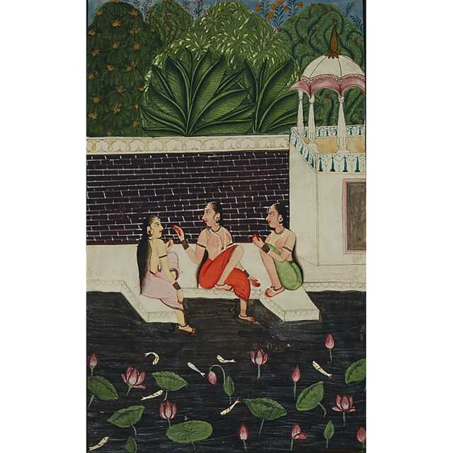 Rajasthan School, Bathing Women, 19th Century