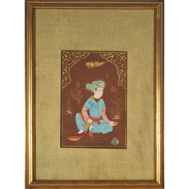 Safavid School, Seated Prince, Late 19th/Early 20th Century
