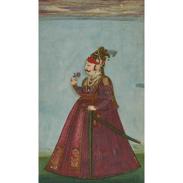 Bikaner School, Portrait of a Standing Prince, Early 19th Century