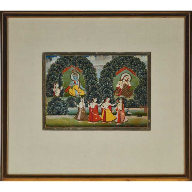 Rajasthan School, Krishna and Gopis, Late 19th Century