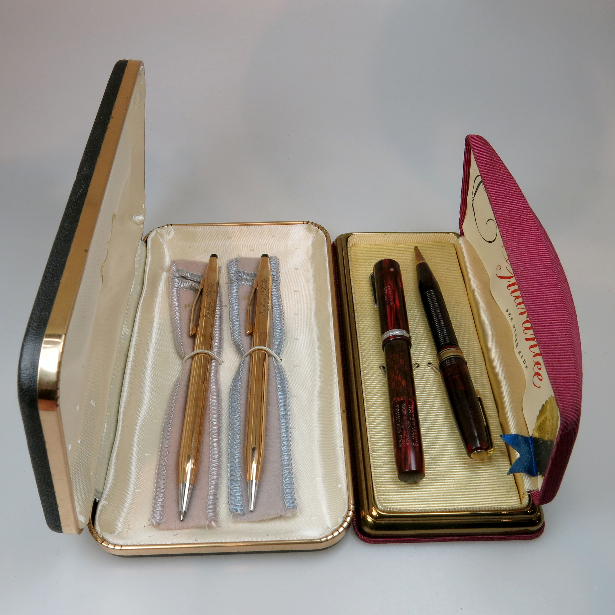 Two Pen And Pencil Sets In Cases