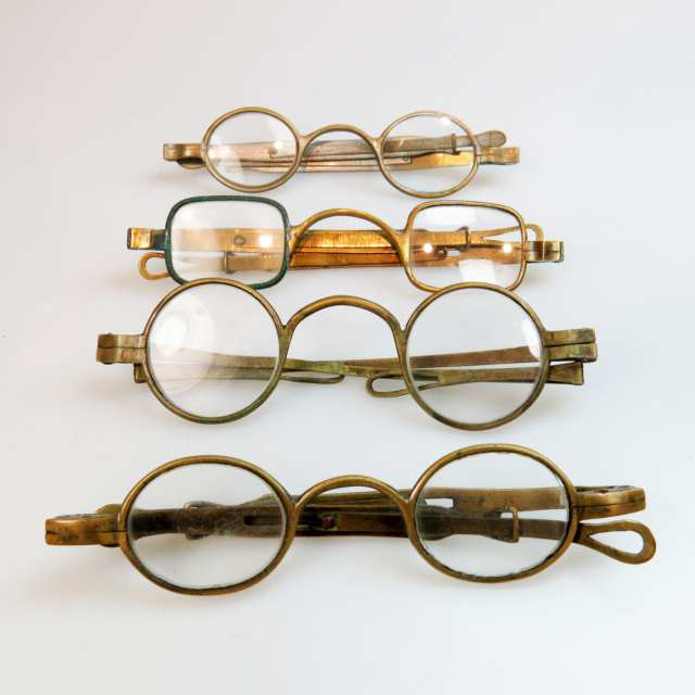 4 Pairs Of 19th Century Brass Framed Spectacles