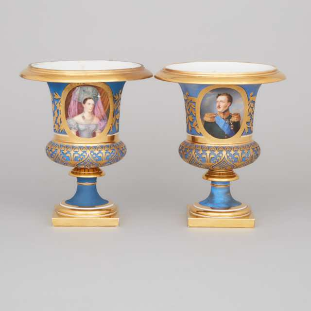 Pair of Russian Imperial Porcelain Portrait Vases, period of Nicholas I, c.1830