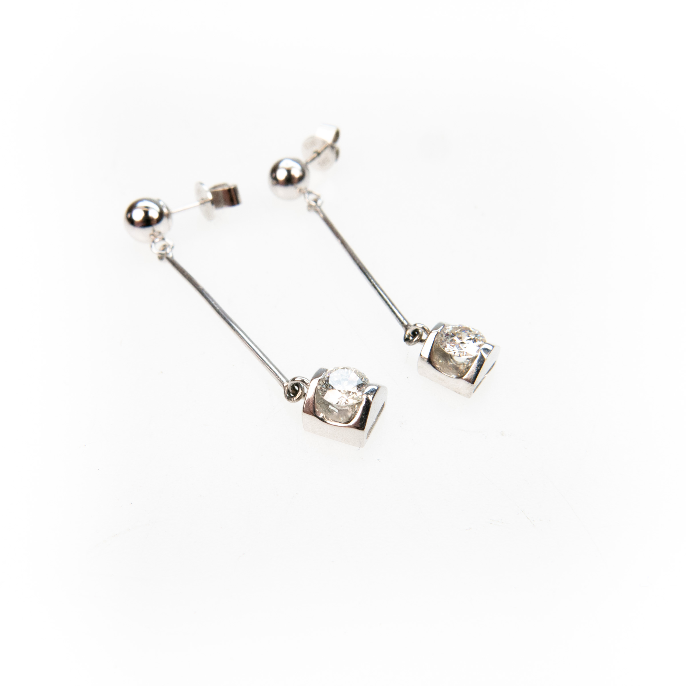 Pair Of 14K White Gold Drop Earrings