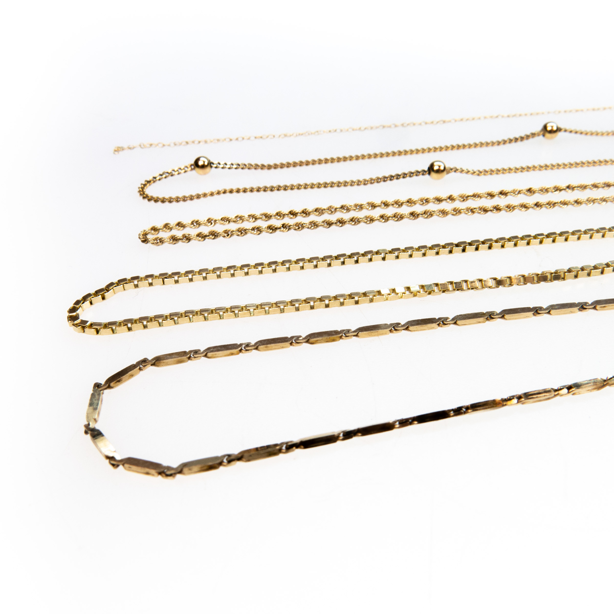 5 X 10K Yellow Gold Necklaces