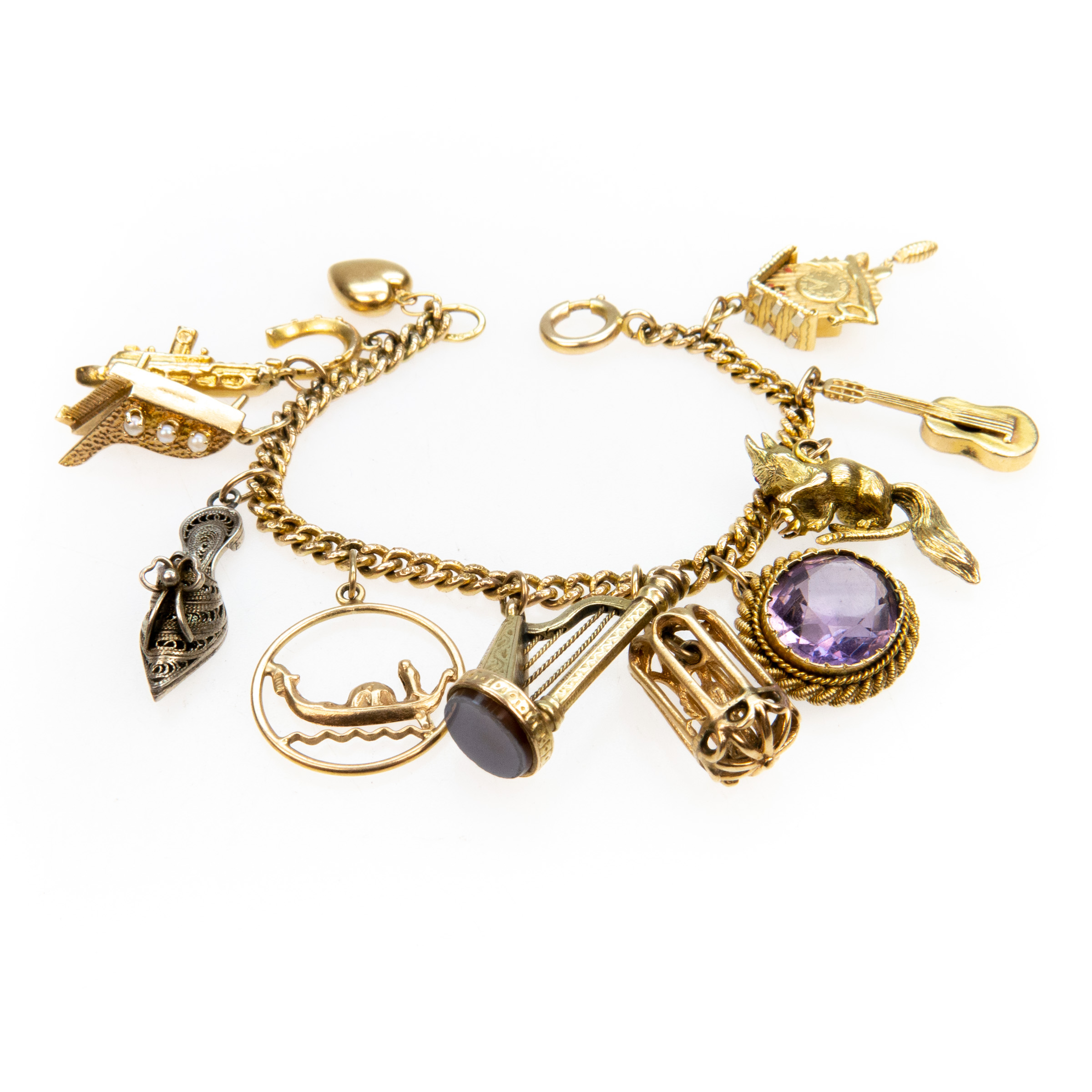 18k Yellow Gold Curb Link Charm Bracelet