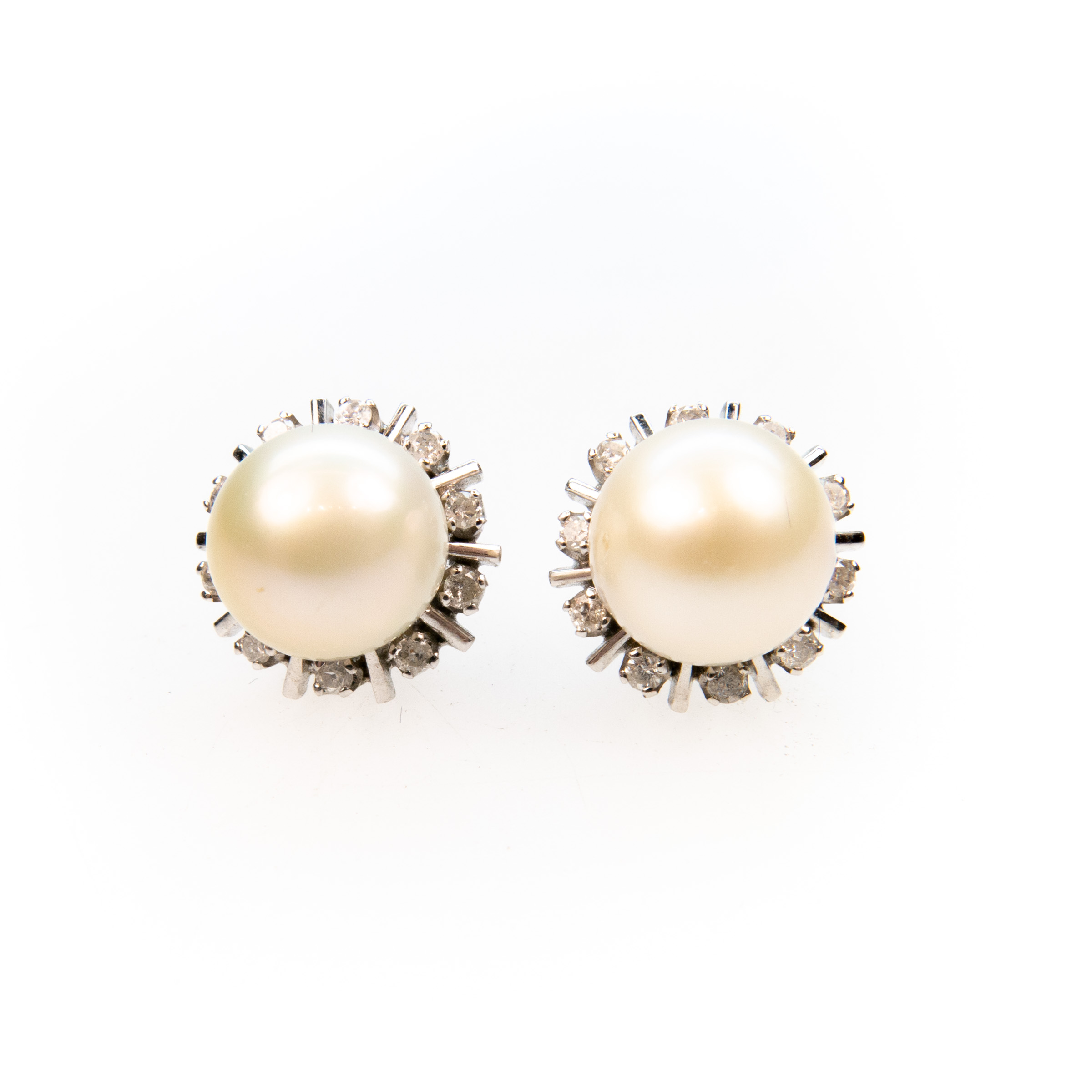 Pair Of 14K White Gold Button Earrings