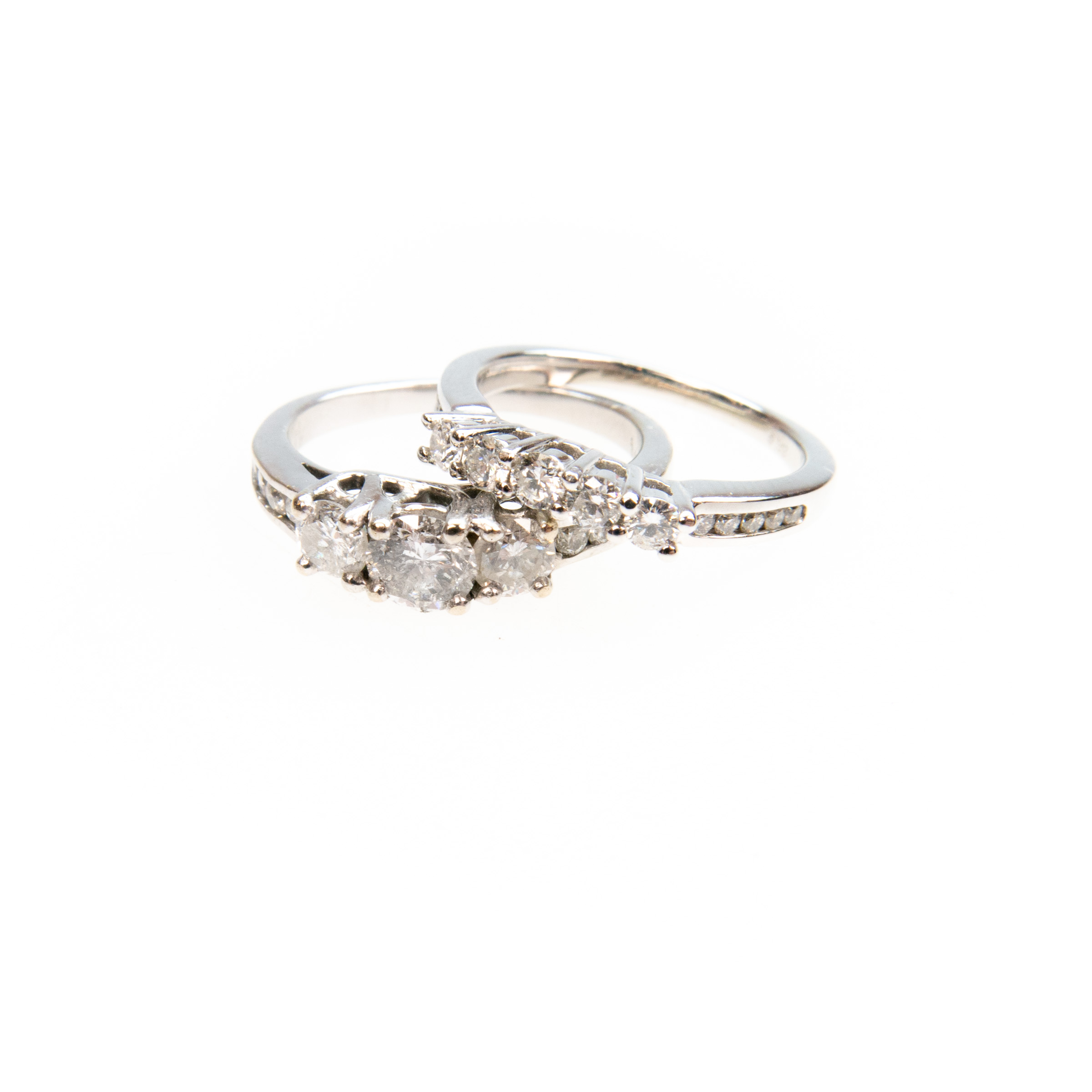 14K White Gold Wedding/Engagement Ring Suite