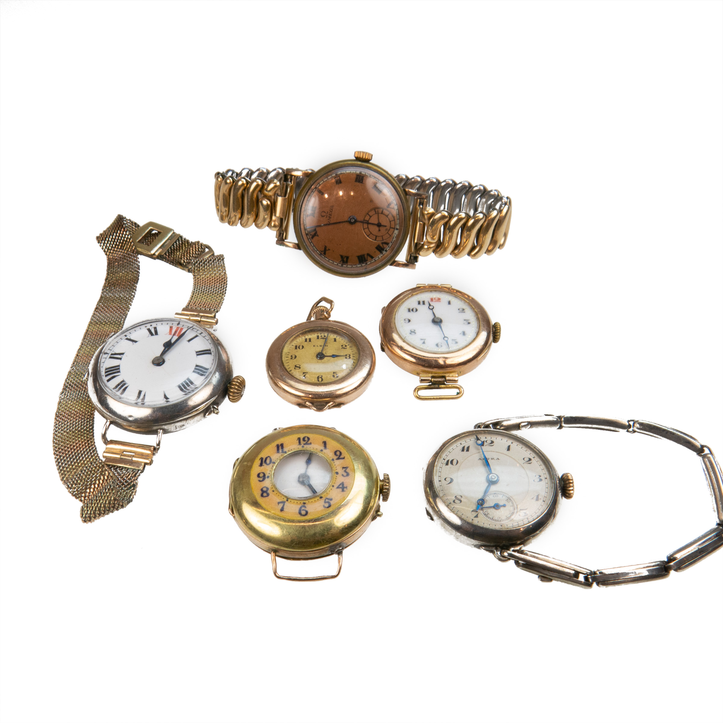 6 X Circa 1920's Wristwatches