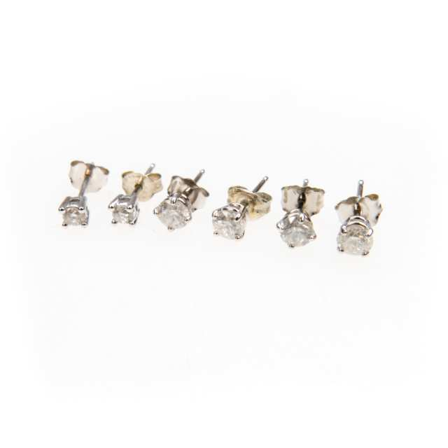 3 Pairs Of 14K White Gold Stud Earrings