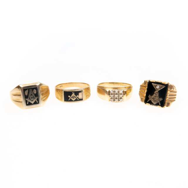 4 X 10K Yellow Gold Rings
