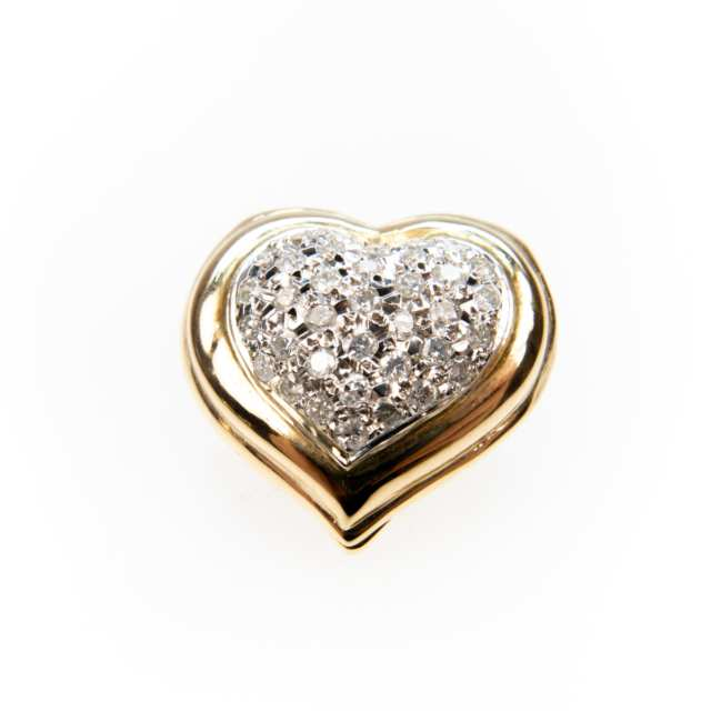14K Yellow And White Gold Heart-Shaped Enhancer Pendant