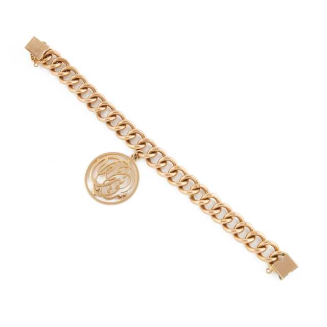 Egyptian 18K Yellow Gold Curb Link Bracelet