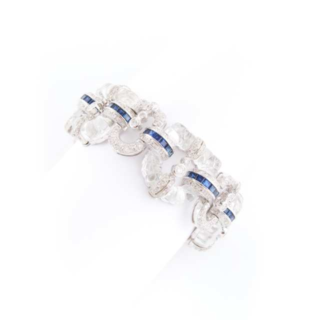 18k White Gold and Carved Rock Crystal Bracelet