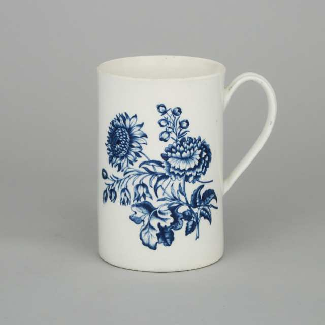 Worcester Blue-Printed 'Natural Sprays' Large Mug, c.1770