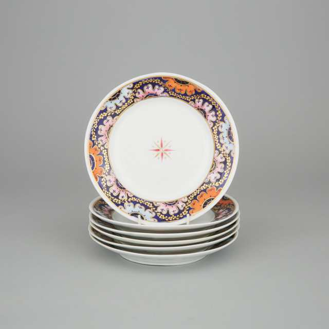 Six Derby Plates, early 19th century