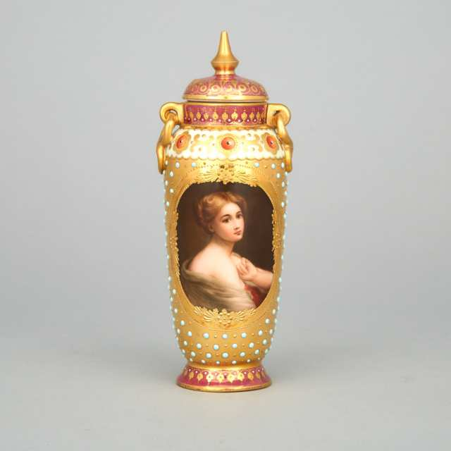 Dresden-Decorated Covered Portrait Vase, 'Serenite', signed Donath, c.1900