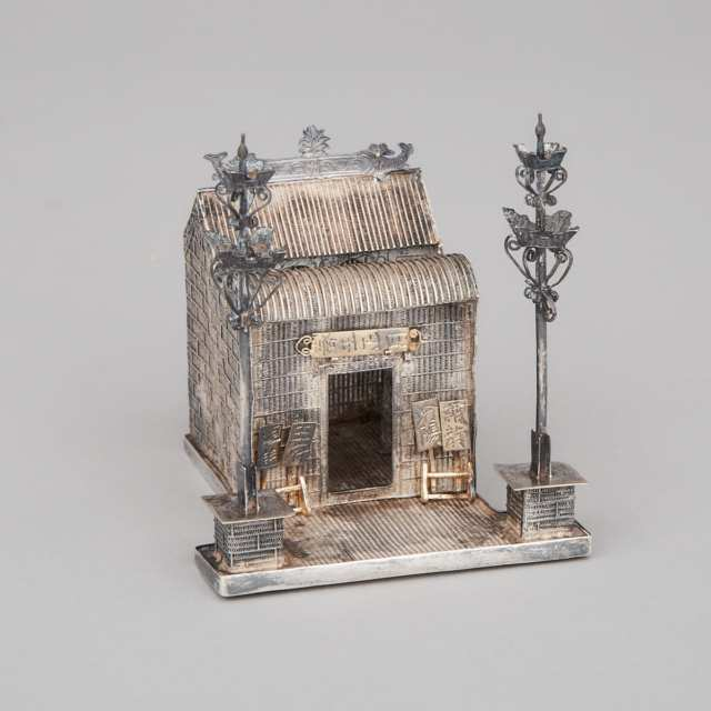 Chinese Silver Miniature Model of a Temple, early 20th century