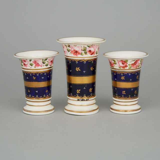 English Porcelain Garniture of Three Spill Vases, 19th century