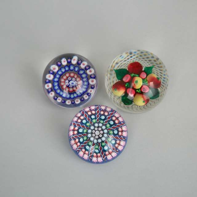 Three Various Glass Paperweights, 20th century