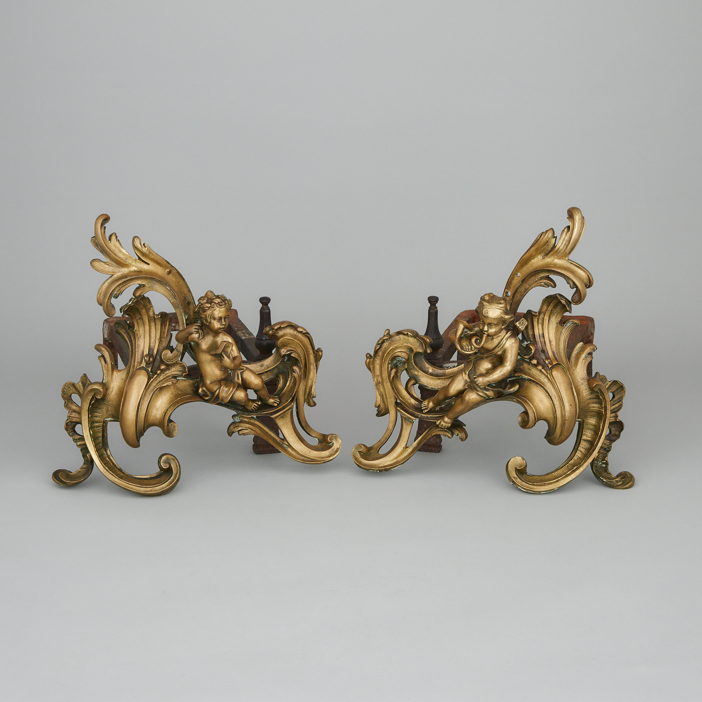 Pair of Louis XV Gilt Bronze Figural Chenets, mid-18th century