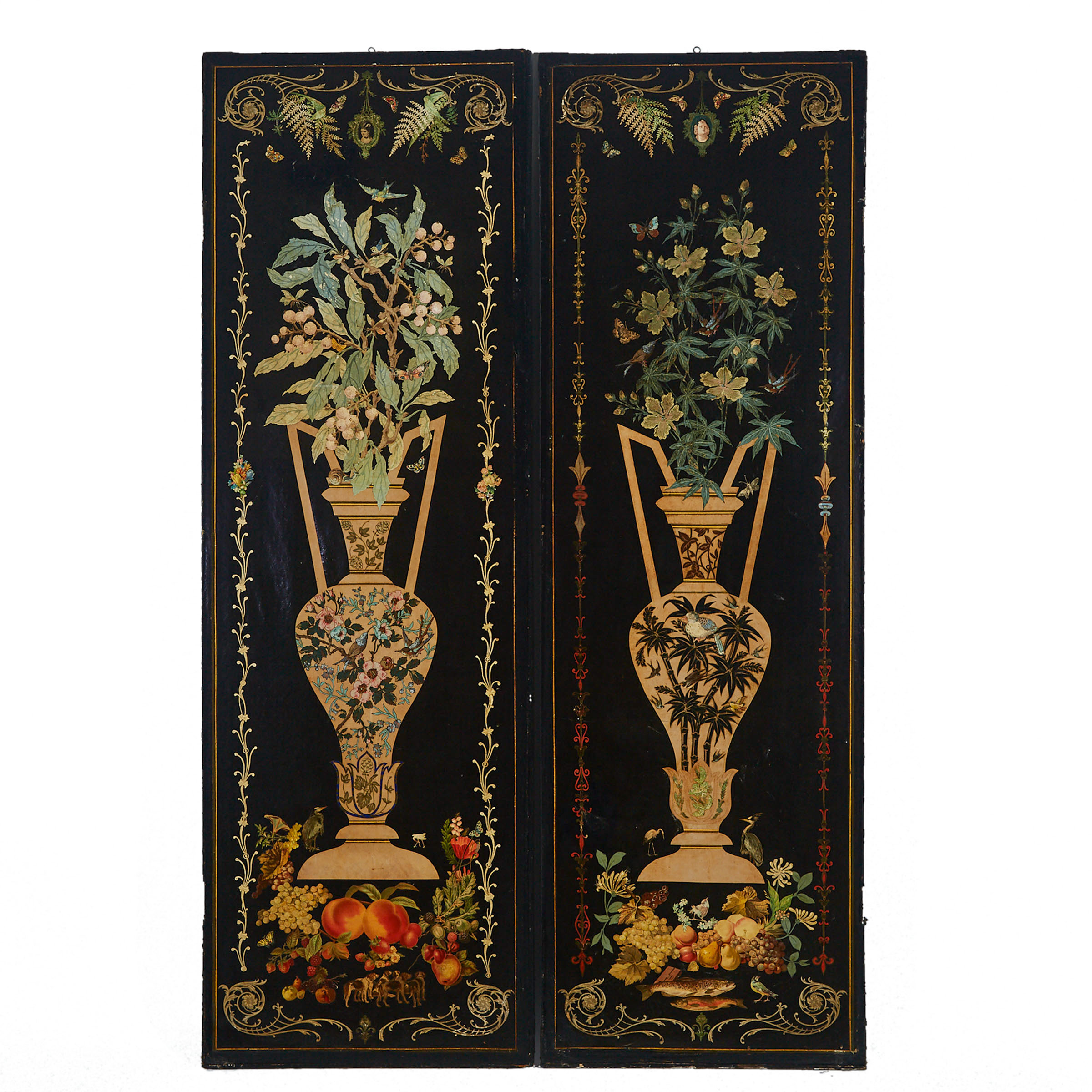 Pair of Victorian Decoupage Leather Screen Panels, 19th century