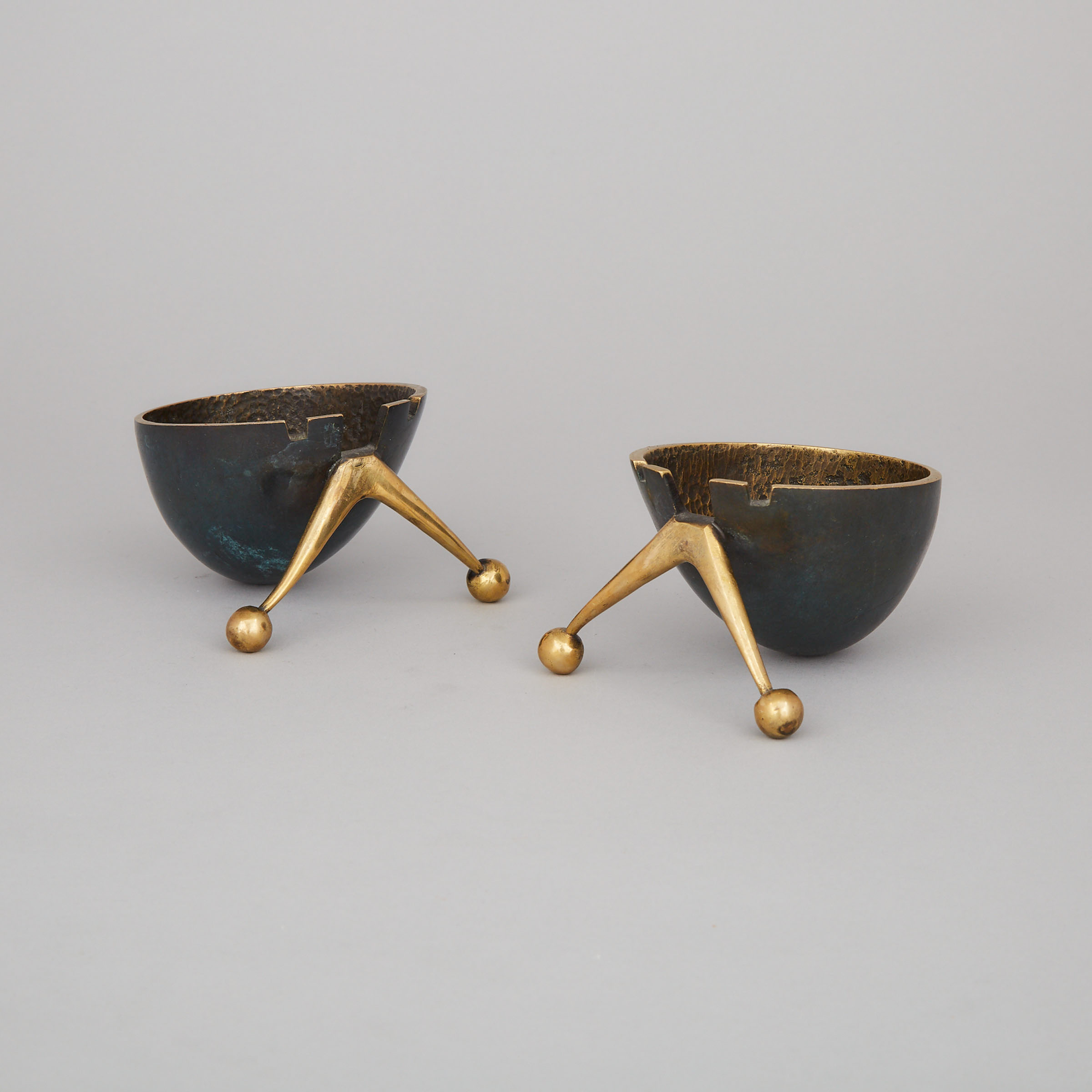 Two Maurice Ascalon for Pal Bell Brass 'Atomic Snail' Ashtrays, c.1950