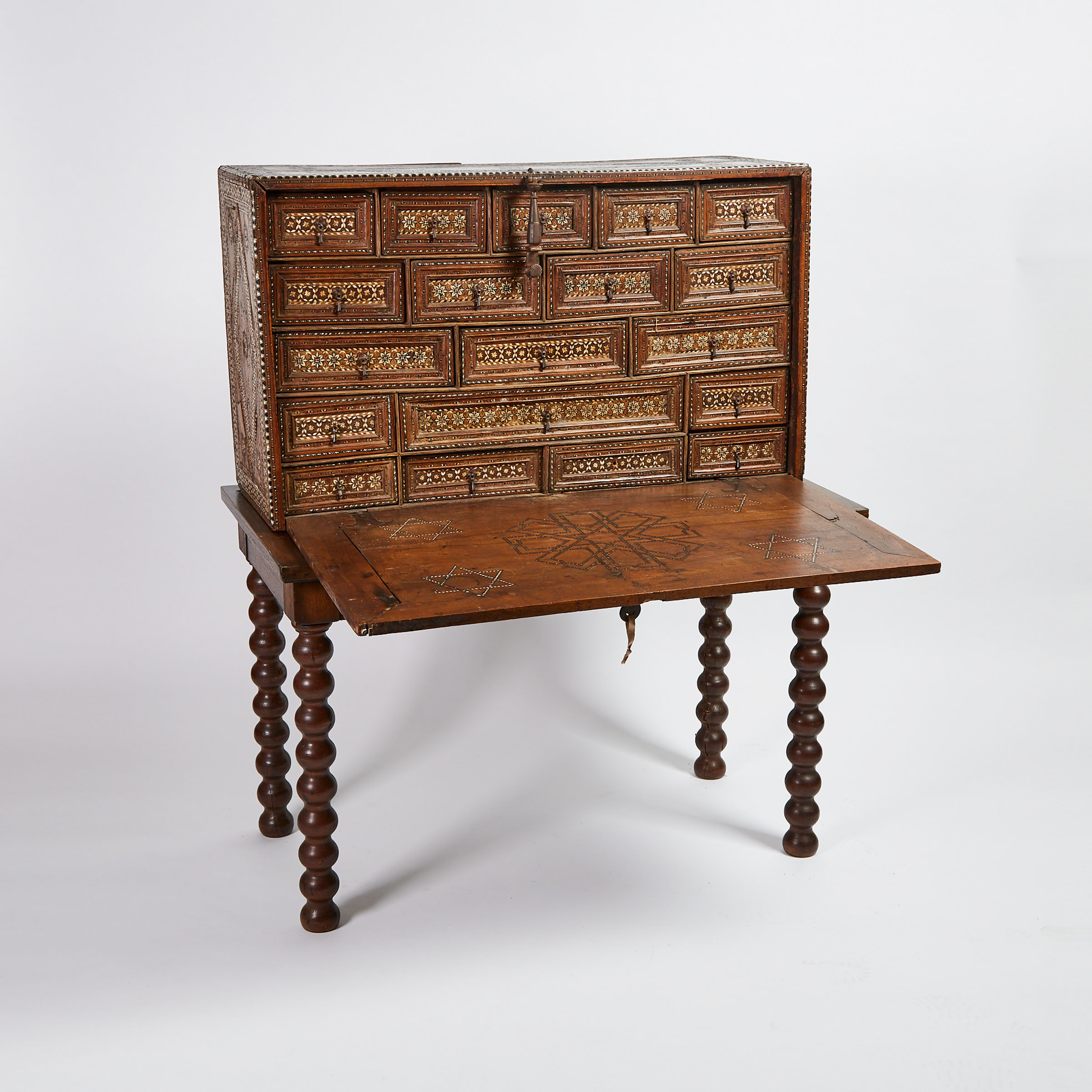 Spanish Walnut Vargueño Desk on Stand, 17th century and later