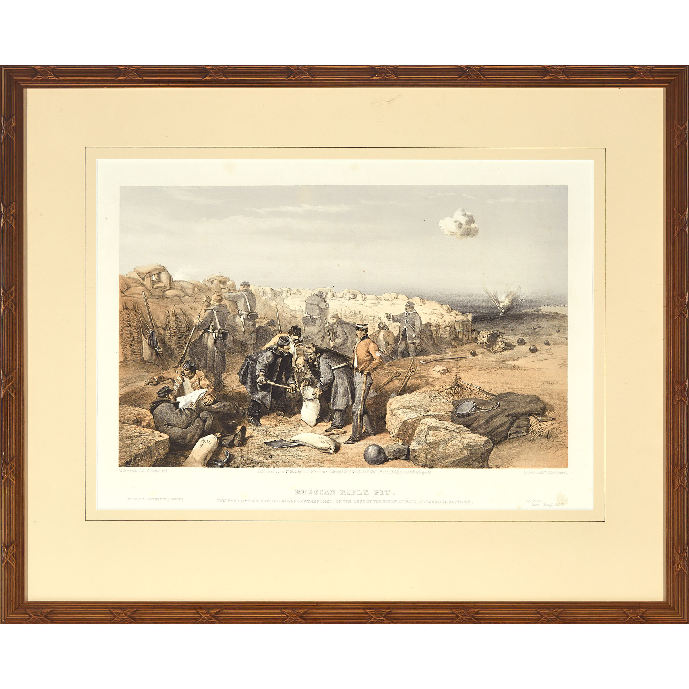 Pair of French Lithographs: Charge of the Heavy Cavalry Brigade and Russian Rifle Pit