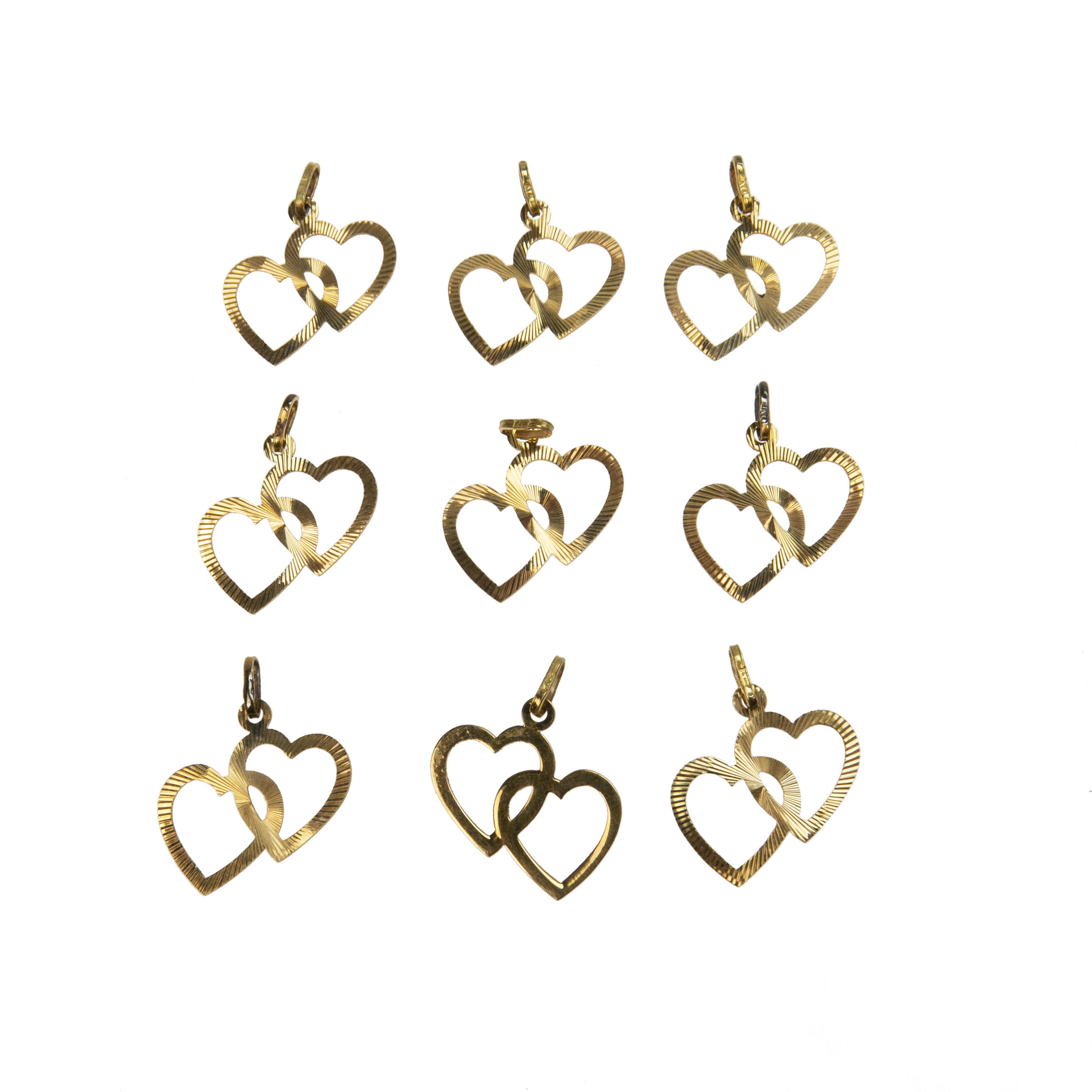 9 X 18K Yellow Gold Charms