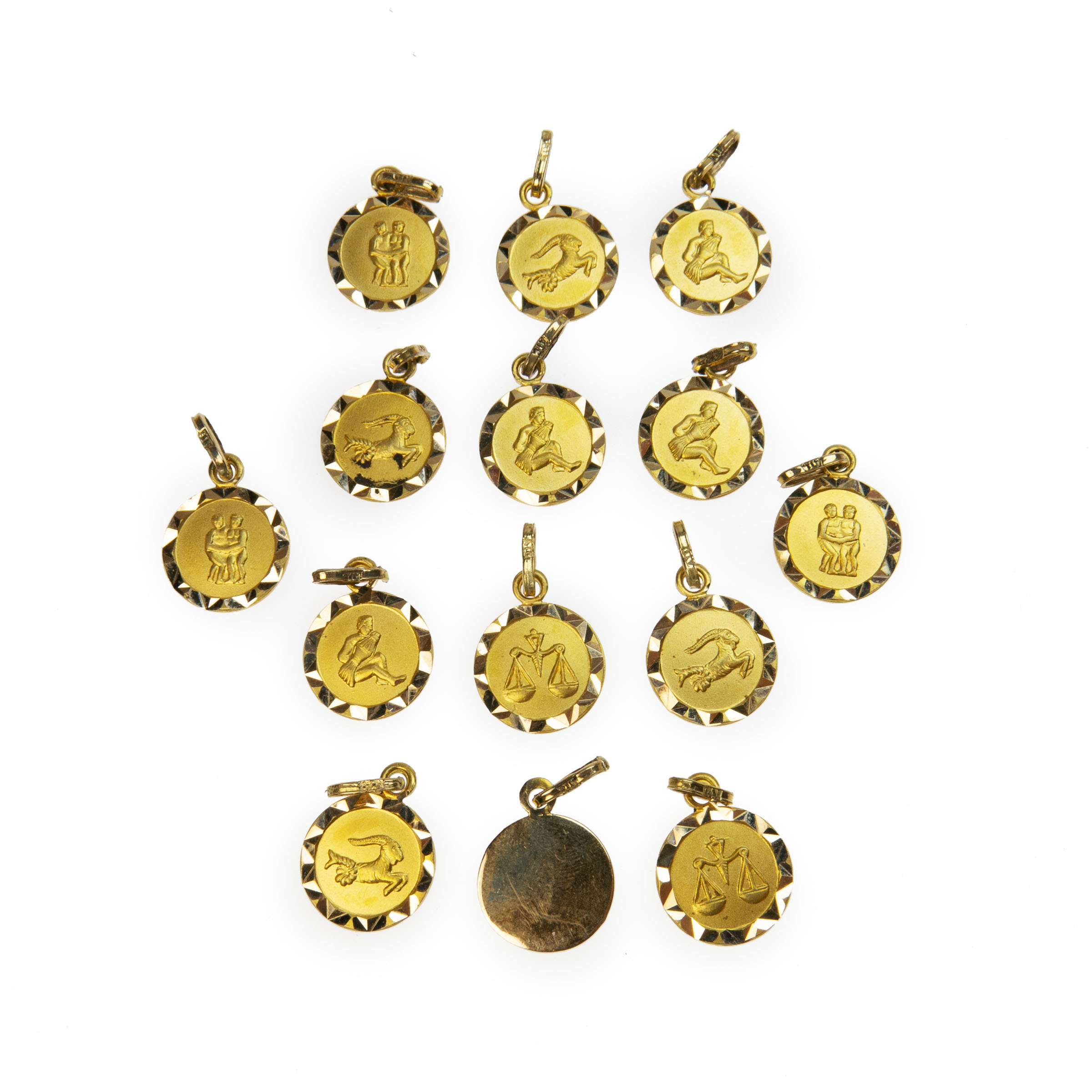 14 X 18K Yellow Gold Charms