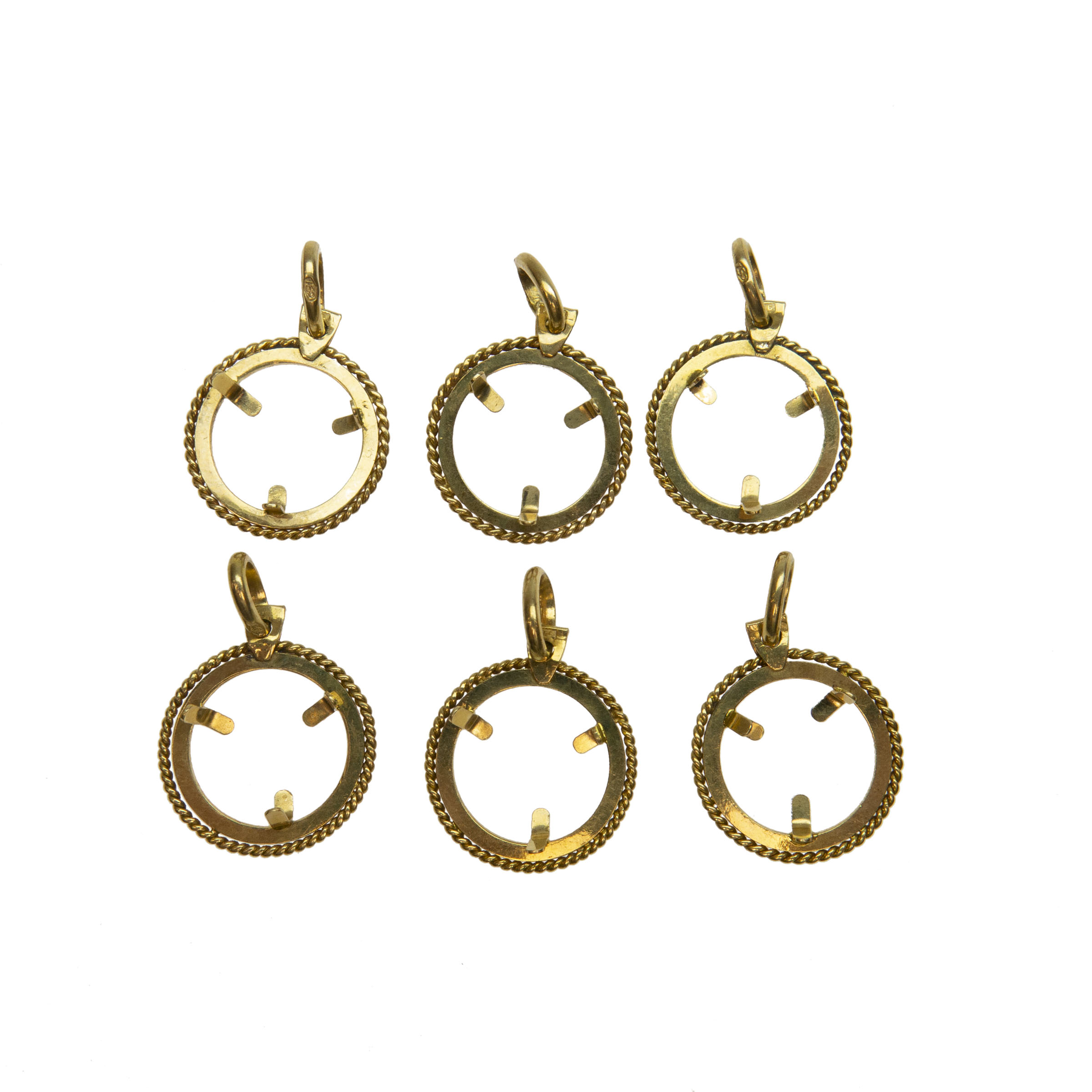 6 X 18K Yellow Gold Coin Frame Pendants
