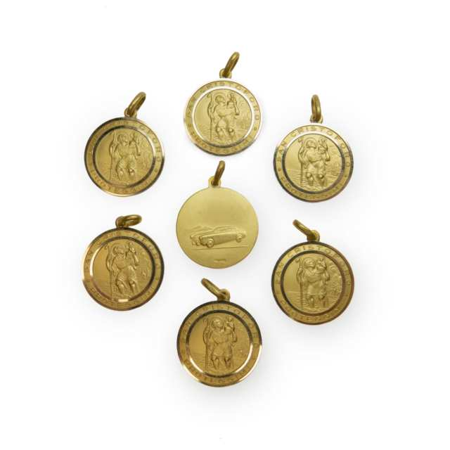 7 X 18K Yellow Gold St. Christopher Medallions