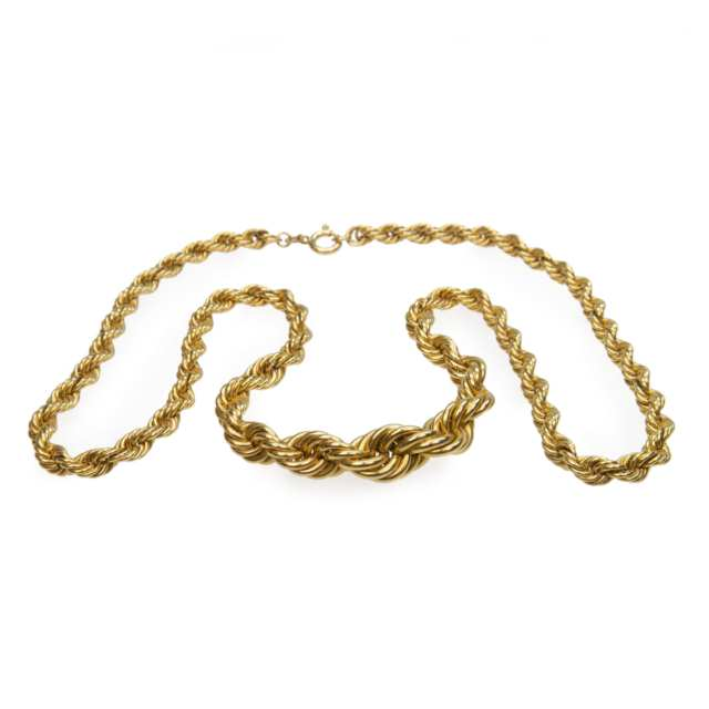 18K Yellow Gold Graduated Rope Necklace