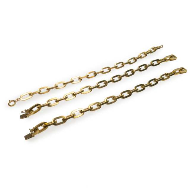 3 X 18K Yellow Gold Link Bracelets