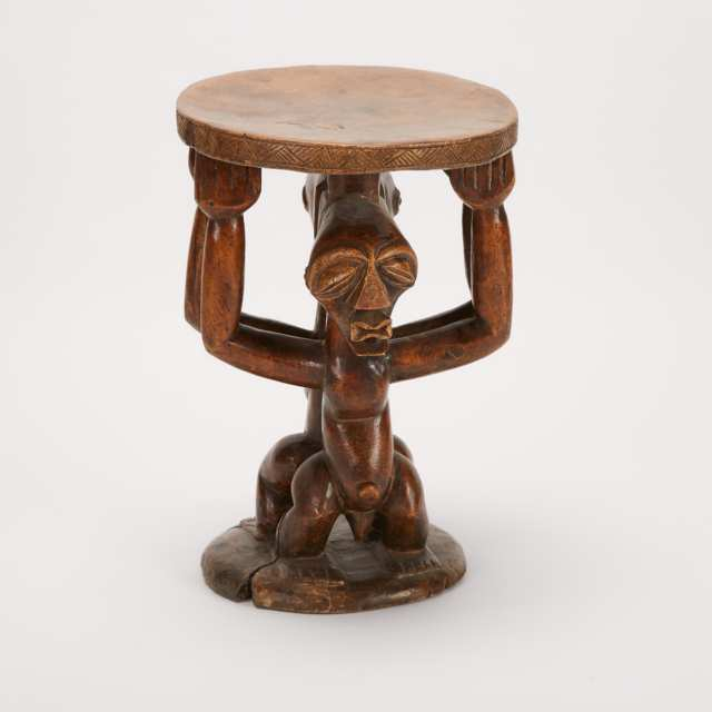 Songye Carved Wood Figural Stool, Democratic Republic of Congo, Central Africa