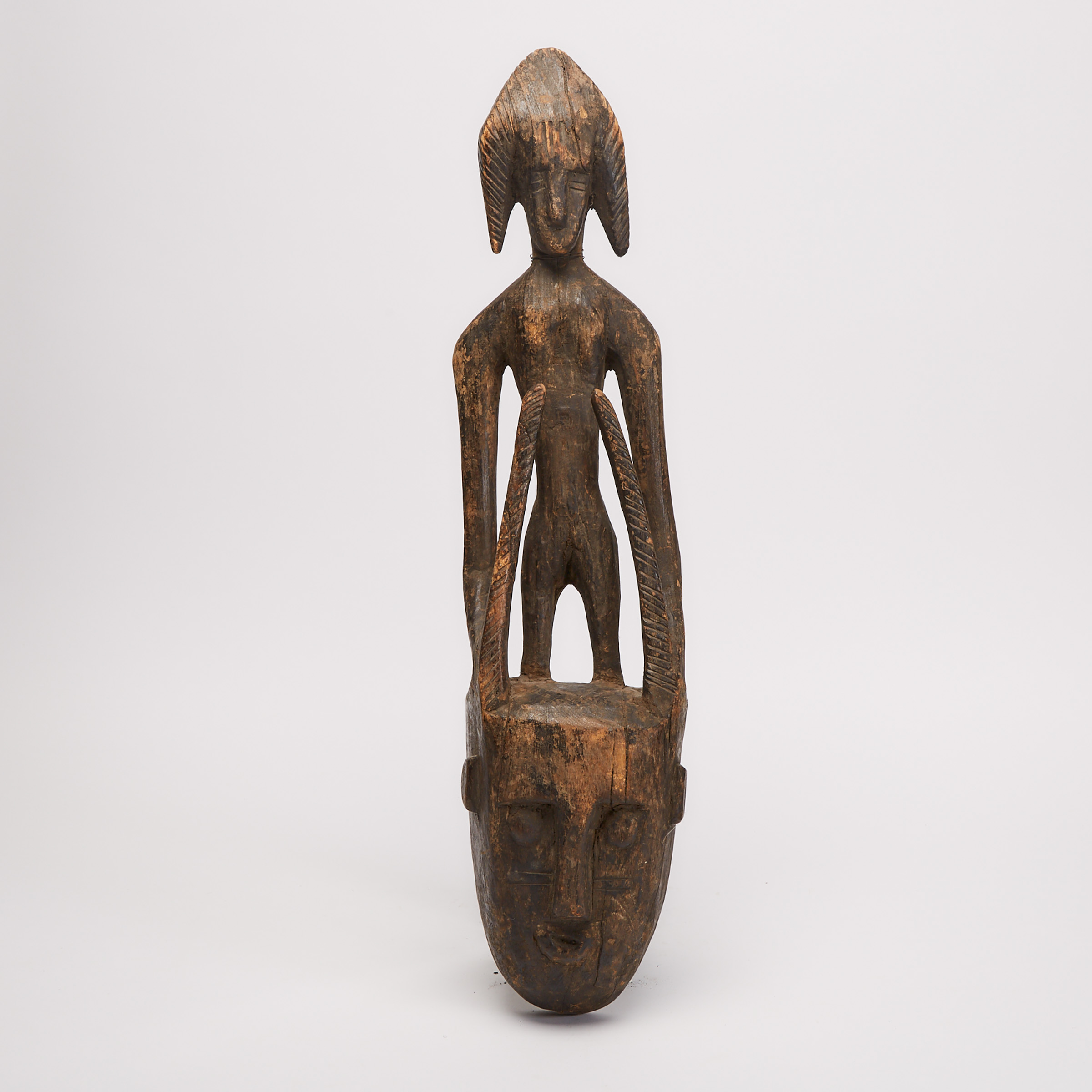 Bamana Mask with Figural Surmount, Mali, West Africa