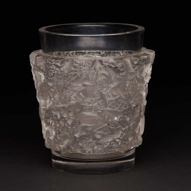 'Bacchus', Lalique Moulded and Partly Frosted Glass Vase, post-1945