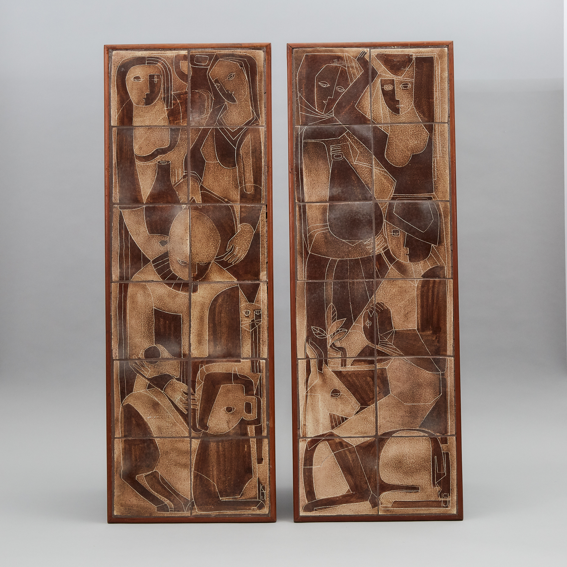 Pair of Brooklin Pottery Rectangular Tile Panels, Theo and Susan Harlander, c.1970