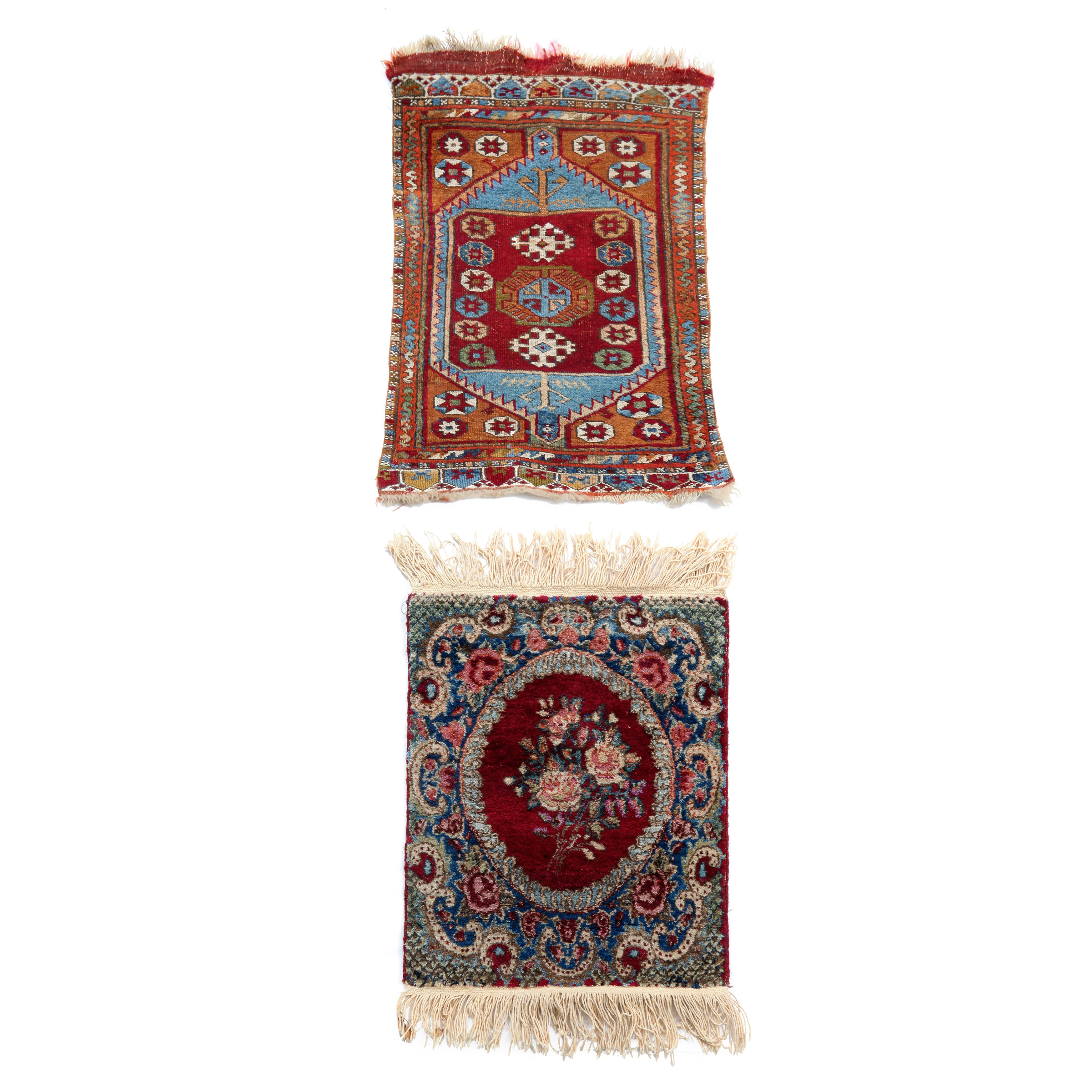 Konya Yastik, Turkish together with a Tabriz Mat, Persian, both early 20th century