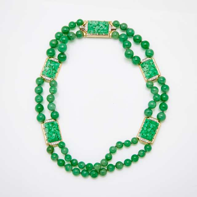 Double Strand Graduated Jadeite Bead Necklace