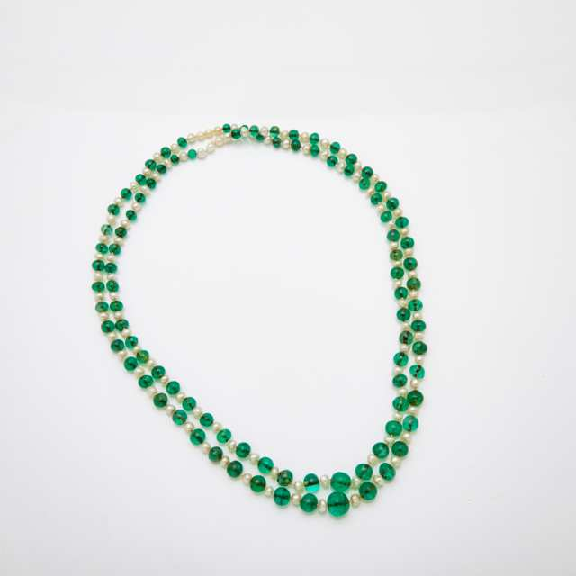 Single Strand Natural Pearl and Emerald Bead Endless Necklace