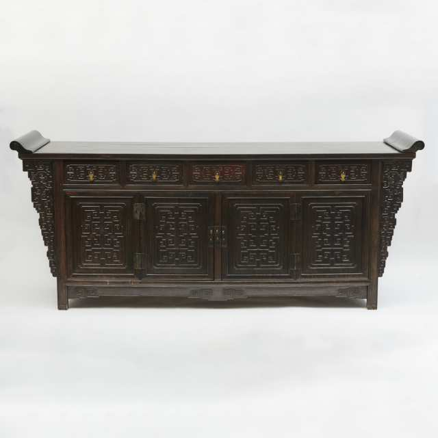 A Massive Carved Zitan Five-Drawer Coffer Table, Qing Dynasty, 19th Century