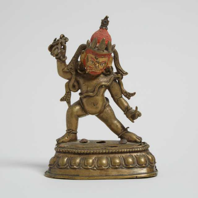 A Gilt Bronze Figure of Vajrapani, Nepal, 15th Century or Later