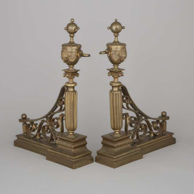 Pair of French Neoclasical Brass Andirons, 19th century