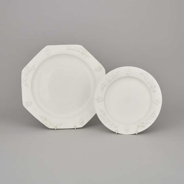 Bow White Moulded Prunus Octagonal Charger and Plate, c.1755