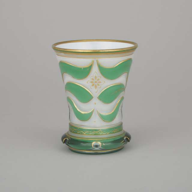 Bohemian Green Overlaid, Cut and Gilt Opaque White Cased Glass Beaker, mid-19th century