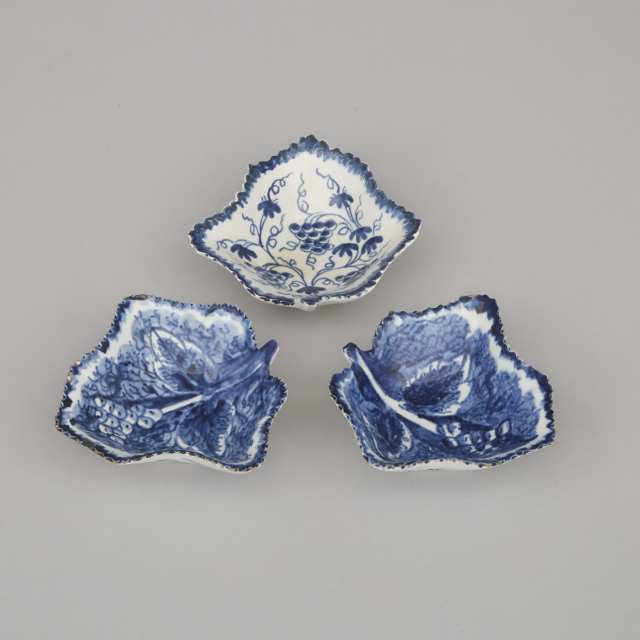 Three Bow Blue and White Pickle Leaf Dishes, c.1765