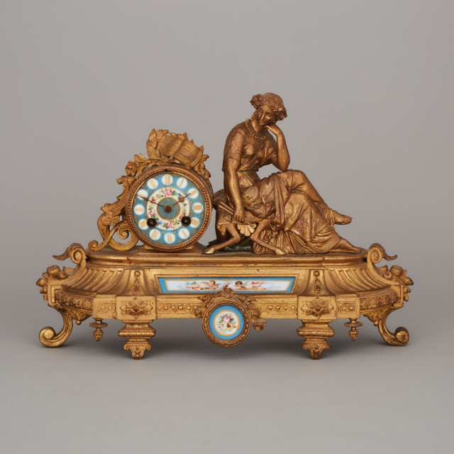 French 'Sevres' Style Porcelain Mounted Gilt Metal Figural Mantel Clock, c.1890