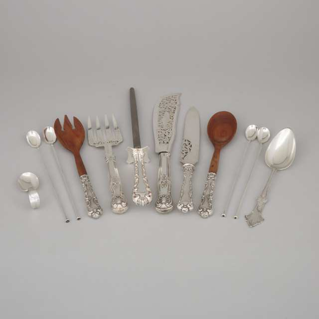 Pair of Victorian Silver Fish Servers, George Adams, London, 1854, and Ten Pieces of North American Flatware, 20th century